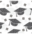 Seamless pattern with graduation cap abstract