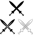 set crossed swords vector image