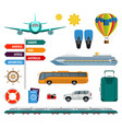 set of summer holidays transport items vector image vector image