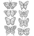 set various forms butterflies black and white vector image vector image