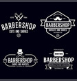 set vintage barbershop labels templates vector image