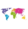 Simplified world map divided to six continents in vector image vector image