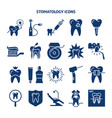 stomatology and teeth care silhouette icon set vector image