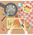 the cook prepares delicious dishes vector image vector image
