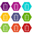 to do list icon set color hexahedron vector image vector image