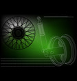 wheel and shock absorber on a green vector image vector image