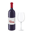 wine bottle and glass object vector image vector image