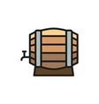wooden wine barrel flat color line icon isolated vector image