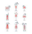 set of alcoholic cocktails line art vector image