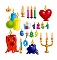 colorful candle set candle flame and wax - vector image