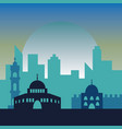 night in jerusalem jewish symbol city buildings vector image