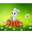 Cartoon Easter Bunny painting an egg on tree stump vector image