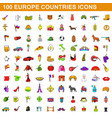 100 europe countries icons set cartoon style vector image