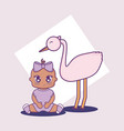 baby shower card with little girl and stork vector image