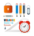 Back to school theme - ruler alarm clock pencils vector image