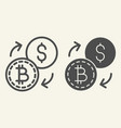 bitcoin to dollar exchange line and glyph icon vector image