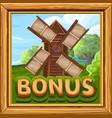 bonus icon for slots game in farm style vector image vector image
