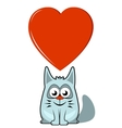 cartoon cat with big heart vector image vector image
