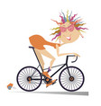cartoon funny woman rides a bike isolated vector image vector image
