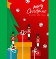 christmas new year red papercut toy soldier card vector image vector image