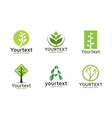 collection of green logos or icons design vector image vector image