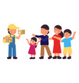 courier delivery guy worker and happy family vector image vector image