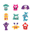 cute cartoon monsters flat collection collection vector image vector image