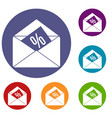 envelope with percentage icons set vector image vector image