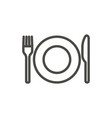 fork knife and plate icon line eat symbol vector image