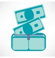 Full wallet flat icon isolated on a blue vector image