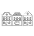 houses old european buildings outline drawing vector image vector image