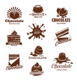 iconis of chocolate candy desserts splash vector image vector image