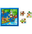 jigsaw puzzle game with kids in garden vector image vector image