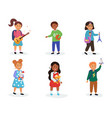 kids in kindergarten play with their favorite toys vector image vector image