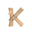 letter k wood board font plank and nails alphabet vector image vector image