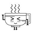 line kawaii cute happy coffee cup vector image vector image