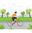 men with bicycles in city park vector image vector image
