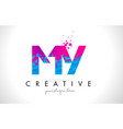 my m y letter logo with shattered broken blue vector image vector image
