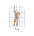 prisoner behind bars inmate in jail cell vector image