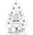 Santa Claus jump out of the cake vector image vector image