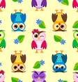 Seamless little owls background vector image vector image