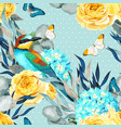seamless pattern with birds and roses vector image