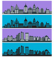 set city landscape silhouettes with houses vector image
