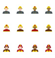 set firefighters in flat style different races vector image