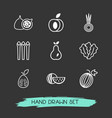 set of fruit icons line style symbols with vector image