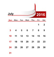 simple calendar 2016 year july month vector image vector image