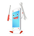 smartphone cartoon with repair tool in hand vector image