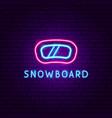 snowboard mask neon label vector image