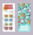 sunglasses fashionable accessory set banners vector image