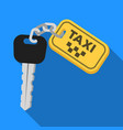 the ignition key for a yellow taxi taxi station vector image vector image